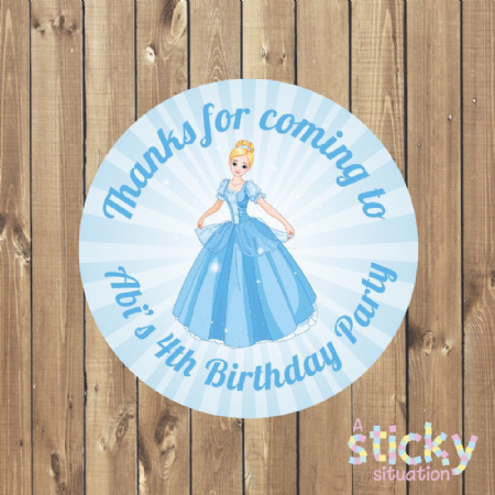 Personalised Birthday Party Stickers - Cinderella Theme Design